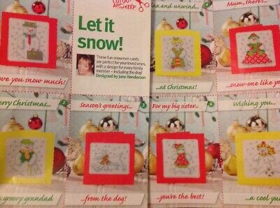 (X5) Snowman And Dog Snow Cards Christmas Cross Stitch Chart