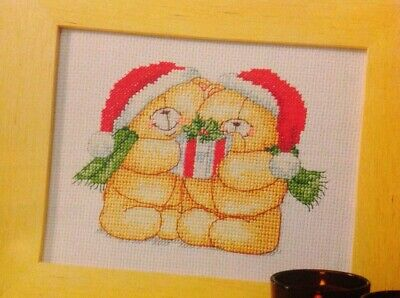 (X5) Forever Friends Teddy Bears Present Christmas Cross Stitch Chart