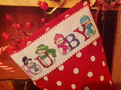 (X5) Snowman Alphabet ABC Christmas Cross Stitch Chart