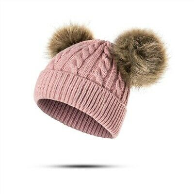 Baby Toddler Kids Girls Knitted Winter Warm 2 Pompom Beanie Hat Pink
