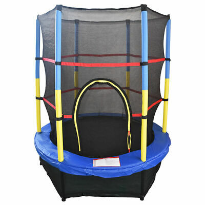 "55"" Junior Trampoline Set 4.5FT With Safety Net Enclosure Kids Outdoor Toy Blue"