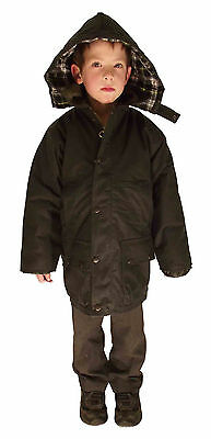 New Kids Childs English Riding Padded Wax Cotton Coat Jacket Olive Green
