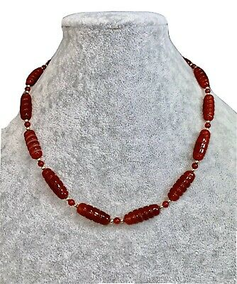 Hand-Carved Carnelian Necklace Brown Terracotta Earth Tone Red Elongated Bead