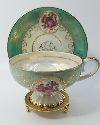 Royal Crown Lusterware Green Iridescent Footed Tea Cup & Saucer Courting Couple