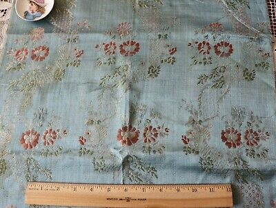 "Antique 18thC French Sky Blue Floral & Lace Silk Brocade Fabric c1770~34""X18.5"""