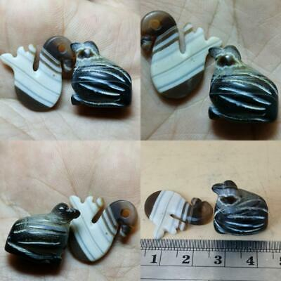 Very Old Wonderful Roman 2 Unique Sulaimany Agate 2 Birds Amulets    # 142
