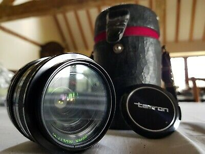 vintage Tamron 28mm lens with Adaptall adapter and case
