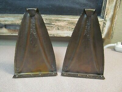 Pair of Vintage Roycroft Arts & Crafts Hammered Copper Bookends