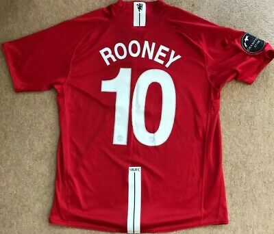 Manchester United Man Utd 2007 - 2009 Home Shirt/ Rooney 10/ Large (L) NEAR MINT