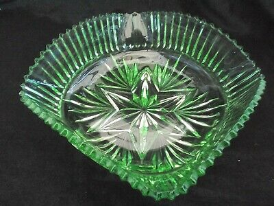 Serving bowl, green pressed glass Art Deco, vintage Sowerby, pattern No. 2458