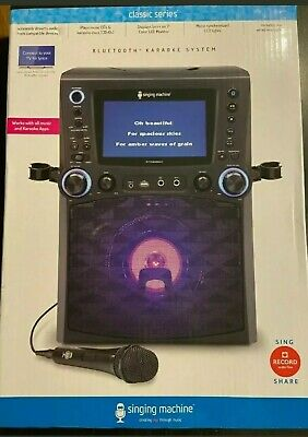 "Singing Machine STVG885BK Bluetooth Karaoke System with 7"" Color Monitor, CG+G,"