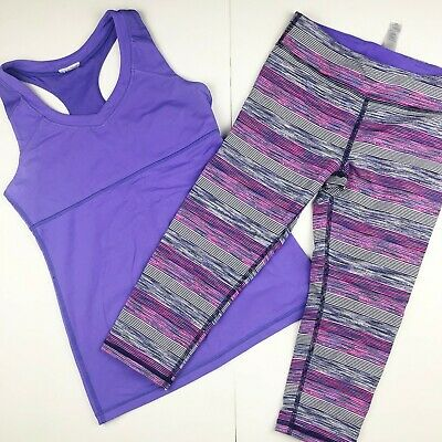 Ivivva by Lululemon Girls 14 Outfit Set Purple Tank Top Crop Leggings