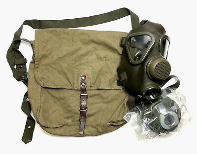 German M-65 Military Surplus NATO 40mm Gas Mask Respirator, M + NOS Filter,  Bag
