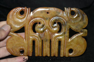 "Good Chinese ""Hong Shan"" Culture Old Jade Carved ""Gou Yun Pei"" Figure L 15.5 cm"