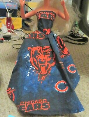 Handmade USA Barbie clothes. Beautiful Chicago Bears gown for Barbie doll