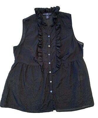 XS Petite Gap Black Silk Blend Sheer Button Down Baby Doll Blouse Sleeveless