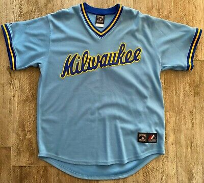 """Milwaukee Brewers 80s /""""Cooperstown/"""" Throwback Road Jersey by Majestic"""