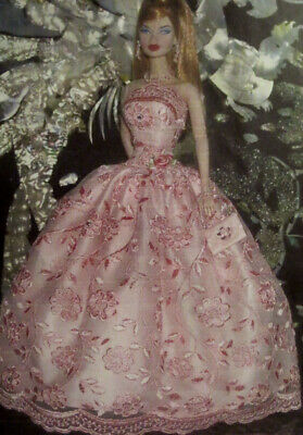 Ooak 4 Silky, Fr, Mtm Barbie Doll~ Pink Embroidered Gown Ensemble +Bag & Jewelry