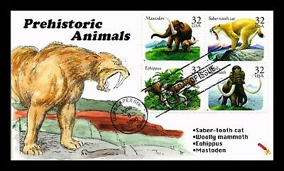 Dr Jim Stamps Us Prehistoric Animals Block Of Four Hand Colored First Day Cover