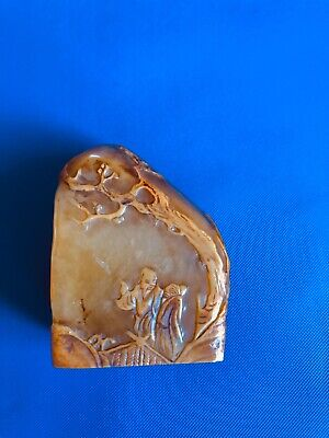 Shoushan stone hand-carved old man statue seal Stamp signet Brown
