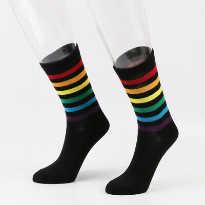 1 Pair Women Striped Socks Knee High Rainbow Cotton Casual Tube Uniform for Girl