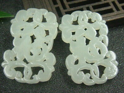 Antique Chinese Nephrite Celadon Hetian-jade Pair of --rings Butterfly Pendant1