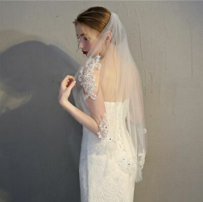 Floral Lace and Crystal Fingertip Bridal Veil Wedding Veil Bridal Veil with Comb