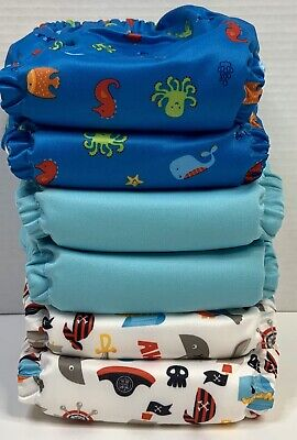 Charlie Banana 6 Diapers / 12 Inserts Oceana One Size Hybrid AIO Reusable