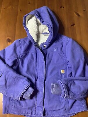 Carhartt Sherpa Lined Girls Size Small 7-8 Zip Up Long Sleeve Hooded Jacket