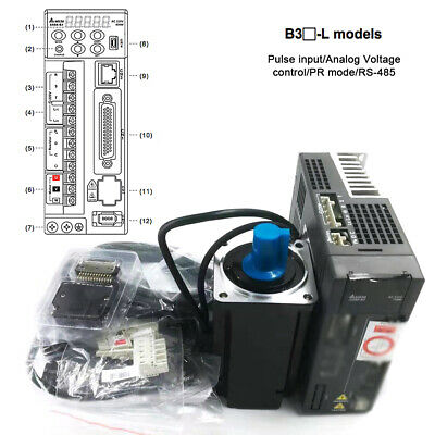 Upgrade Delta 750W NEMA32 AC Servo Motor 2.4NM Driver B3 Series Medium Inertia