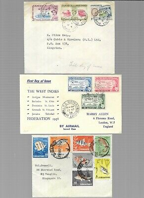 Older Commonwealth covers - Singapore,St Lucia & Jamaica - 50p start