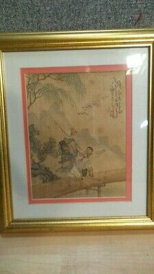Antique CHINESE NAN CHI PAINTING on SILK of fisherman finely detailed and SIGNED