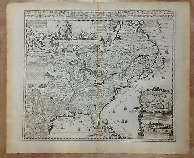NORTH AMERICA 1719 by HENRI CHATELAIN LARGE UNUSUAL ANTIQUE MAP 18e CENTURY