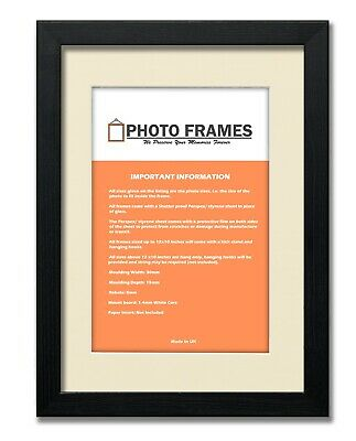 Modern Picture Photo Frames With Ivory Mount Wood Effect Various Colours & Sizes