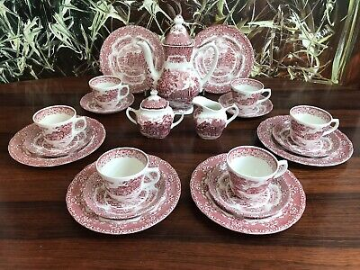 GRINDLEY  England ENGLISH COUNTRY INNS -  21 teiliges Kaffeeservice in rot
