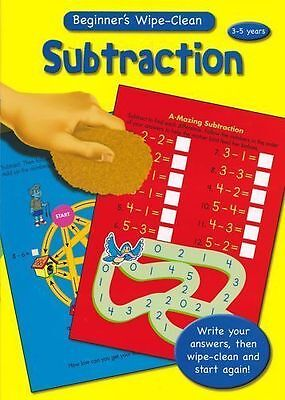 Wipe Clean SUBTRACTION Beginners Maths Book - Ages 5-7 Car Journey Education UK