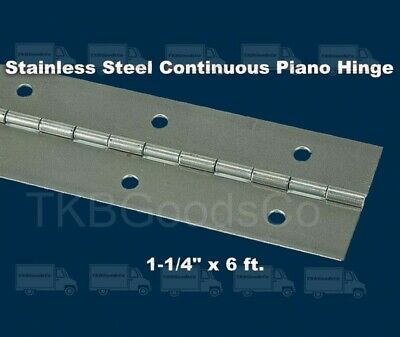STAINLESS STEEL PIANO HINGE 1-1/4 x 6' Continuous Full Surface Non-removable Pin