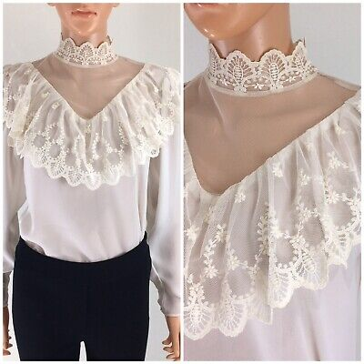 Vintage 80s Ivory Semi Sheer Blouse Lace Ruffle Collar Renaissance Victorian M