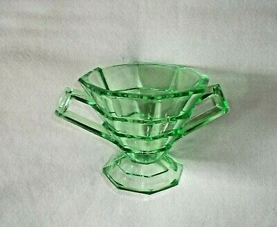 Green Depression Glass Footed Sugar Bowl, Tea  Room, Indiana Glass Co.1926-1931