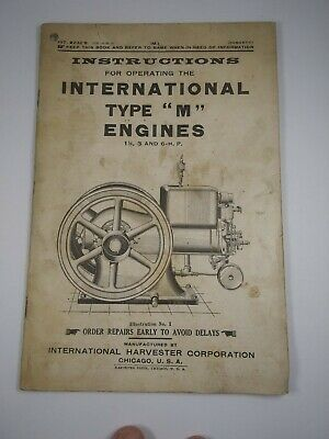 Vtg Original Type M Operating Instructions Parts List - International Harvester