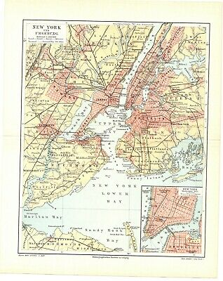 1897 Antique Color lithography print map of the city of New York USA America
