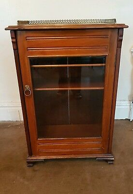 Victorian Mahogany Sheet Music/Record Display Cabinet. Gallery Edging On Top