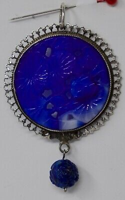 Art Deco 1920s-30s Chinese Export Silver Pendent Carved Blue Glass Peking Jade
