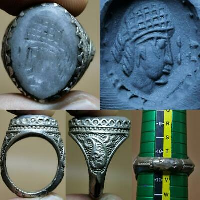 Old Jade stone Emperor Face intaglio stone Lovely Ring  # 143