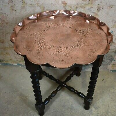 Antique C1900 J & F Pool Hand Beaten Cornish Copper Tray Table Arts and Crafts