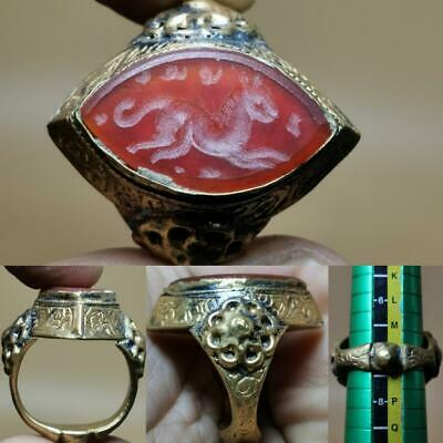 Medieval Old Agate stone Deer intaglio stone Beautiful Ring   # 143
