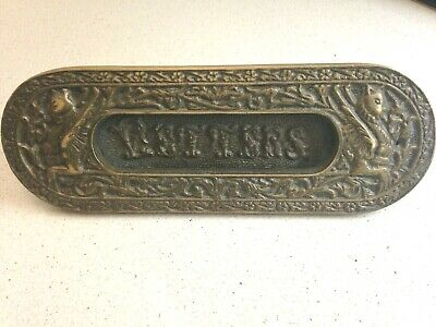Antique Victorian Solid Brass Letter Box 1910