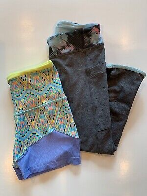 Ivivva Shorts Cropped Leggings Lot Atheltic Yoga Girls Size 10