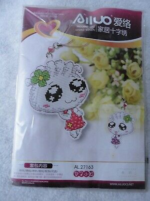 Dumpling girl keychain (counted cross stitch kit)