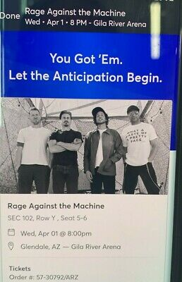 Rage Against The Machine Gila River Arena AZ 2 Tickets 4/1/20